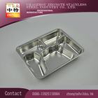 Material SS410 / 201 / 304 5 compartimento de aço inoxidável Fast food caixa Luch ou lanche bandeja