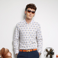 OEM factory Cotton stylish dress long sleeve custom printed shirts for men