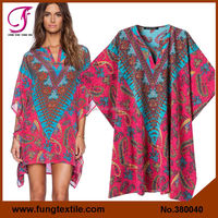 380040 NEW Arrival India Paisley Chiffon Silk Caftan