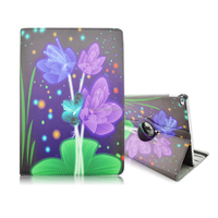 Purple Flower PU Leather 360 Degrees Rotating Flip Stand Case Cover Protector for Apple iPad Pro 12.9 inch