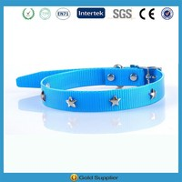 LF Blue Leather Dog Collar with Silver Stars
