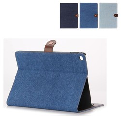 jean flip leather case for iPad air 2 wallet Cover with credit card slot and stand