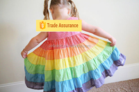 Wholesale Colorful Rainbow Fabric gingam Baby Dress With ruffle for girl Baby Toddler Girl Cotton Dress
