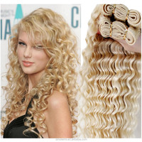 2015 Europen New Style Brazilian Deep Wave hair Weave, 613 Blonde Virgin Hair weft, Brazilian Blonde wave Hair Extensions
