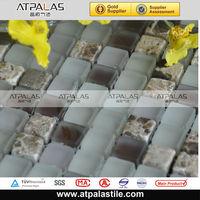 Intercultural 15*15 glass mix stone mosaic bathroom mosaic art wall mural construction building material