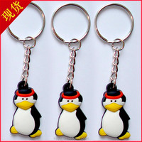 Promotional soft pvc 3d keychain with cute penguin design