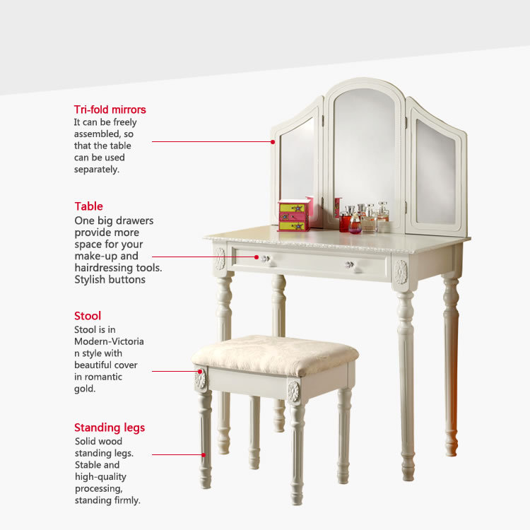 jade white dressing table with mirror