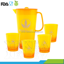 Hot sale ! 2.5L plastic water jug with cup sets, fruit pitcher cold water jug