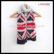 Nuevo 2014 gasa de poliéster bandera británica bufanda, bufanda de venta al por mayor