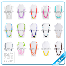 2015 hot selling baby silicone teething bead pendants for kids necklace