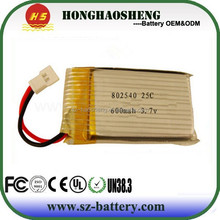 With 25C discharge rate 802540 3.7v 600mah rechargeable rc helicopter lipo battery