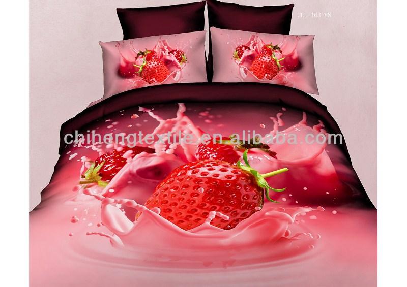 housse de couette ensemble 3d fraises 75x150cm impression 40s 133 72 ensemble de literie housse. Black Bedroom Furniture Sets. Home Design Ideas