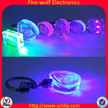 Alibaba Promotion Gift 3D Laser Led Custom Crystal Acrylic Keychain