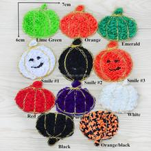 Chiffon Halloween Orange Pumpkin Gold Sequin Mesh Trimmed Bow Appliques Headbands Glitter Queen Supply Hair bow Supplies
