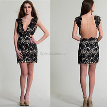 2015 Cap sleeve Custom made sheath Appliqued Prom/Party/Club Dresses Black Lace with Sheer Back Cheap Short Homecoming Dress