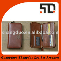 High Quality Leather Zipper Wallet with Custom Emboss Logo
