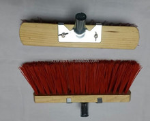 Wood broom with galvanized steel support and wooden handle