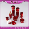Manufacturers free sample 50ml red empty plastic cosmetic jar, drum shape facial cream packaging