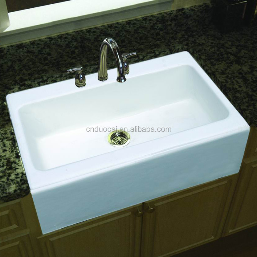 Single bowl enamel white cast iron apron kitchen sink kc for Cast iron sink manufacturers