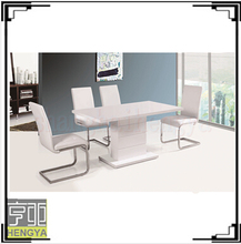 Wooden high gloss modern dining table with four chairs