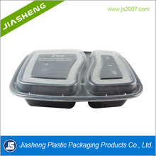 The 2015 new two compartments black plastic disposable microwave fast food container with white and clear lid