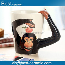 Hand-Painted Ceramic Coffee cup, Chimpanzee Style