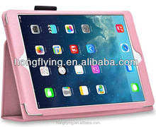 Wholesale pink PU leather case for iPad Air with stand function