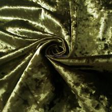 Olive green upholstery fabric crush velvet