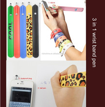 3 in 1 wrist band pen , fashion wrist band stylus pen , bracelet ball pen
