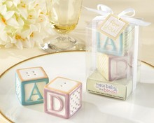 New Baby on the Block ABCD Ceramic Baby Blocks Salt & Pepper Shakers Wedding Favors