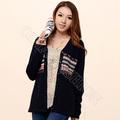 moda decote em v padrão jacquard manga longa das mulheres cardigan sweater mostrar temperamento
