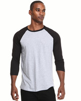 Men 3/4 sleeve blank cotton raglan baseball t shirt wholesale