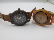 Colorful lady girl natural wood watch with leather band