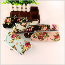 Stock cheapest flower printed brand new clip coin wallet women