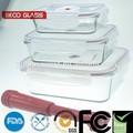 rectángulo de vidrio resistente al calor lunch box set de regalo para microondas o el horno