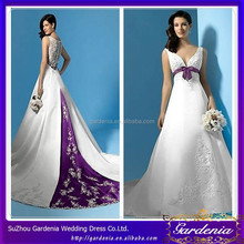 Elegant A-line Deep V-neck Sash Sleeveless Lace Bottom Embroidery On Train 2012 Purple And White Wedding Dresses WD147