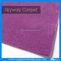 Purple needle punched plain velour carpet for wall to wall expo carpet