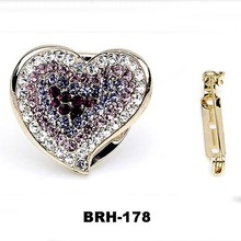 Scarf Jewelry Crystal Silver Gold Ladeis Brooch pin clip Heart Shape scarf buckle