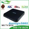 2G 8G XBMC Pre-install M8 Amlogic S802 Quad Core M8 Android Tv Box 4.4 Kitkat M8 Ott Tv Box Smart Tv Box M8 4K WIFI+Bluetooth4.0