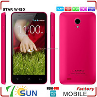 Star W450 4.5inch MTK6582 Quad Core Smartphone FWVGA Capacitive Screen 1G RAM 4G ROM 3G GPS android 4.4 smartphone