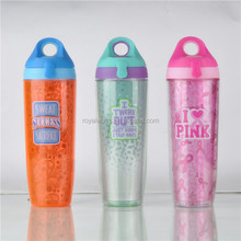 FDA approved SAN double wall drinking bottles with PVC insert