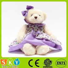 ICTI SEDEX sublimation cotton stuffed plush animal toy teddy bear with tie