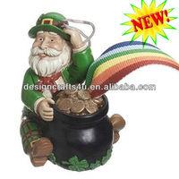 Polyresin Irish Leprechaun Santa Christmas Ornament