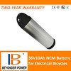 Factory direct sale,lithium bottle battery 36V10Ah for e-bikes ,assembly via 18650 rechargeable cells