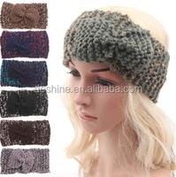 Ladies girls new knit braided wool knit headband with bowknot