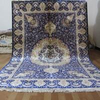 Charming Factory Price 100% Silk Persian Hand Technics Royal Blue Carpet