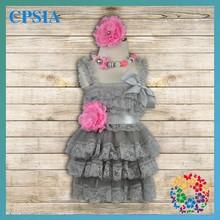 Dresses For Girls With Headband Grey Lace Chiffon Ruffled Dress Grey Dress Girls Summer Outfits