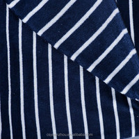 navy blue and white stripe recycled coral fleece fabric