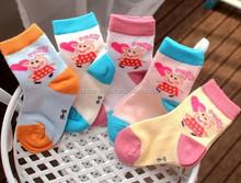 A272 2015 COTTON south korea wholesale fashion cute sweet breathable candy color heart long nose rabbit children short socks