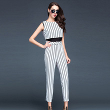 2015 summer two-piece stripe leisure suit trousers round collar sleeveless top fashion women's clothing